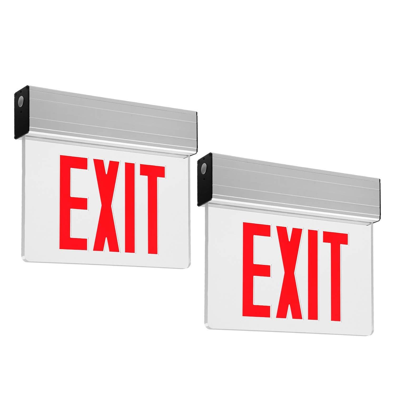 Leonlite Led Edge Lit Red Exit Sign Single Face With Battery Backup Ul Listed Ac120v 277v Ceiling Left End Back M Exit Sign Emergency Lighting Edge Lighting