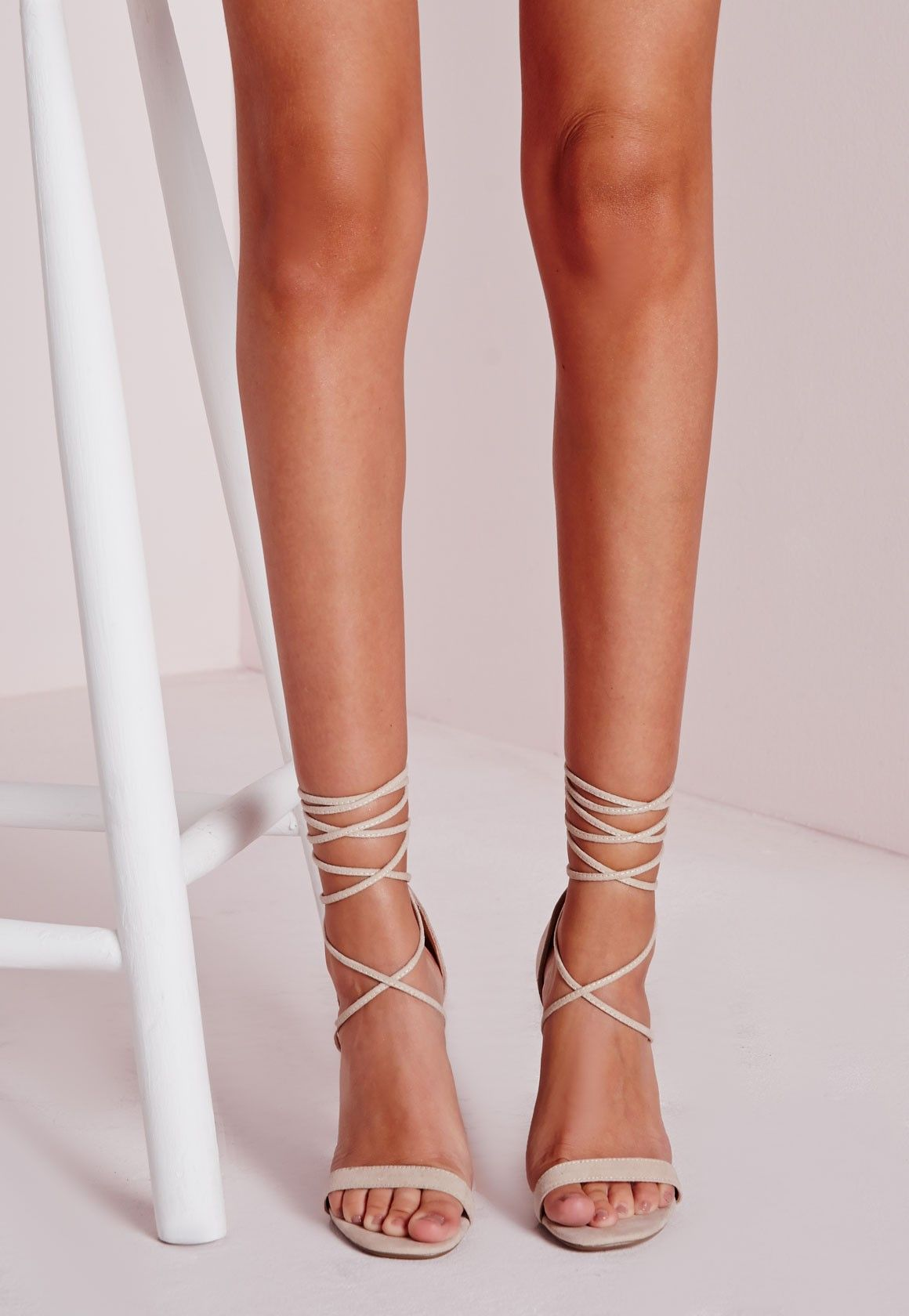 9e82b8f83a7 Step out in style this season in these fierce barely there heeled sandals  in always on trend nude. Featuring a super soft faux suede feel and lace up  finish ...