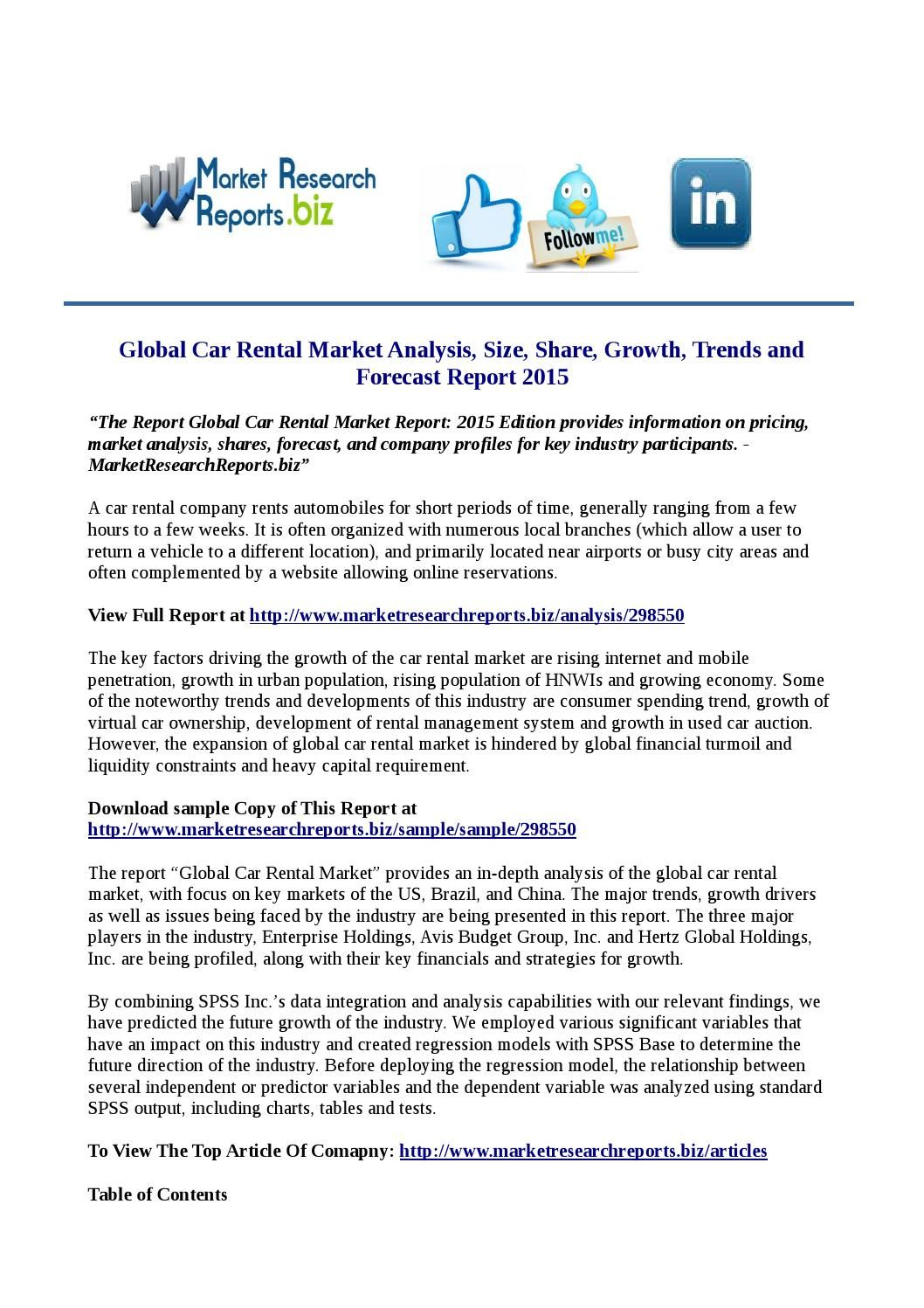 Global Car Rental Market Research Report   Company Profile