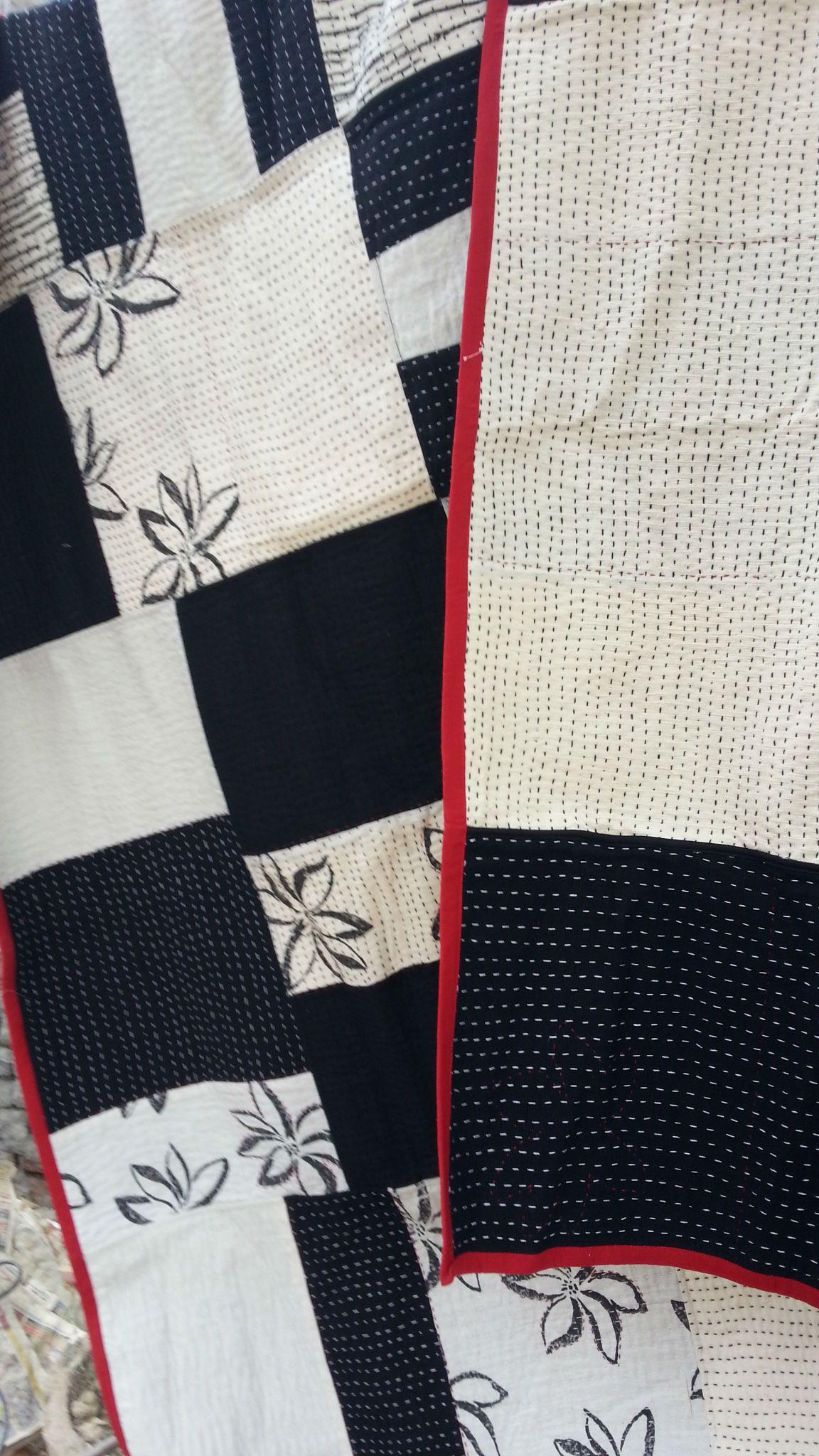 1.7.14- Quilt 21/7. Lotus Patched Quilt.  Handloom khadi cotton by Gaffer, Block print by Mrs Nandu, Hand stitch by Mrs Jesu, Suman and Manju, Machine by Shaquil