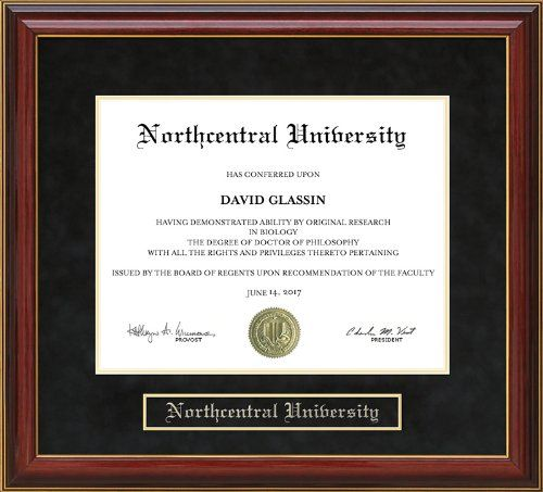 northcentral university ncu diploma frame with hardwood and ultrasuede matting mahogany 85 x 11 horizontal landscape