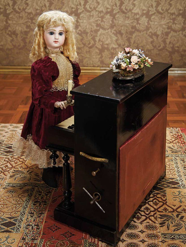 "French Musical Bon-Bon Automaton ""Little Girl at the Piano"" by Vichy  6000/9000"