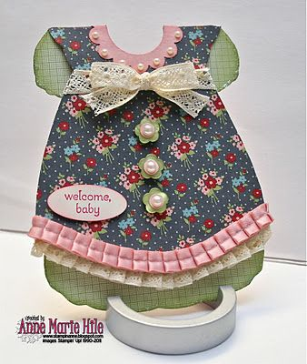 adorable handmade dress card ... luv all of the details  like the cute little pearl buttons and pleated ribbon at the bottom  ... Stampin' Up!