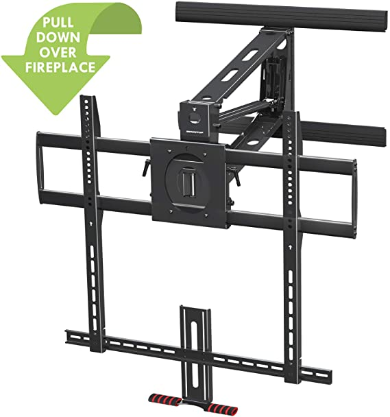 Amazon Com Mountup Fireplace Pull Down Tv Mount Full Motion Mantel Tv Wall Mount Gas Spring Drop Down Tv Mount Wi In 2020 Wall Mounted Tv Tv Wall Fireplace Tv Wall