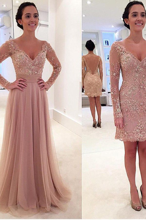 Long Sleeves V-neck Tulle Prom Dress with Detachable Train ...