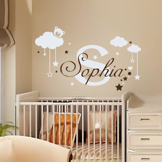 Name Wall Decal Teddy Bear Nursery Cloud Nursery Decor Monogram - Monogram wall decal for kids
