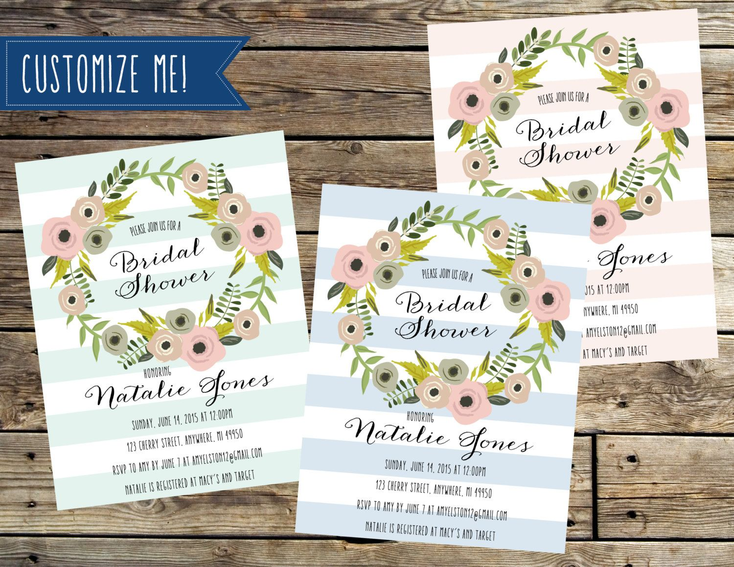 Pink, Blue or Mint Green Stripe and Floral Wreath Bridal Shower ...