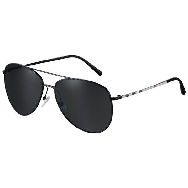 c694307ec82a6 Burberry Check Arm Aviator Sunglasses ( 200) ❤ liked on Polyvore featuring  accessories