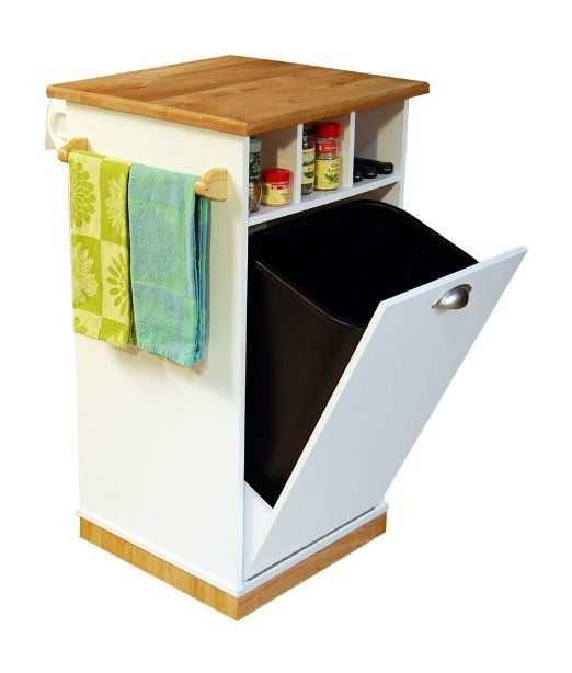 Amazon Com Venture Horizon Holden Kitchen Island With Hidden Trash Bin Pantry