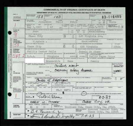 Josephine Falls Price discovered in Virginia, Death Records, 1912 ...