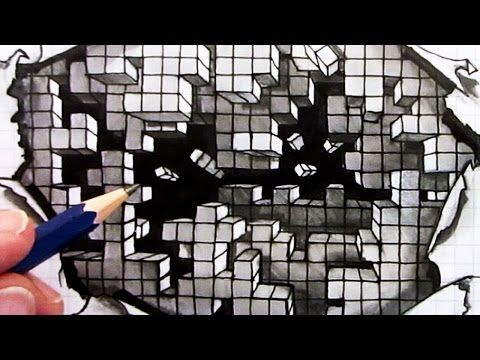 How To Draw An Optical Illusion Falling Cubes 3D Hole In Paper