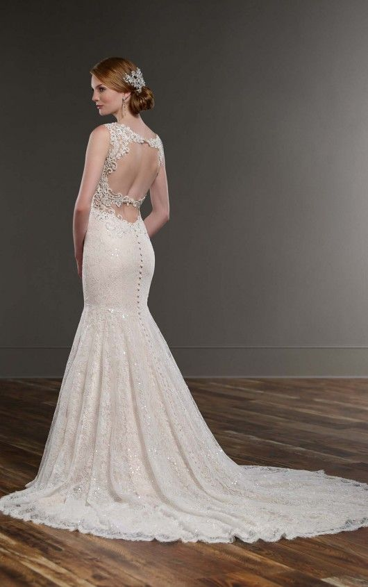 Sparkly Fit And Flare Wedding Dress In 2019 Backless