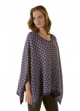 Beautiful two-tone Poncho with an elegant net pattern - perfect for those cooler nights of late Summer and early Fall   #MS2014 #New #Arrival #Peru #Fall