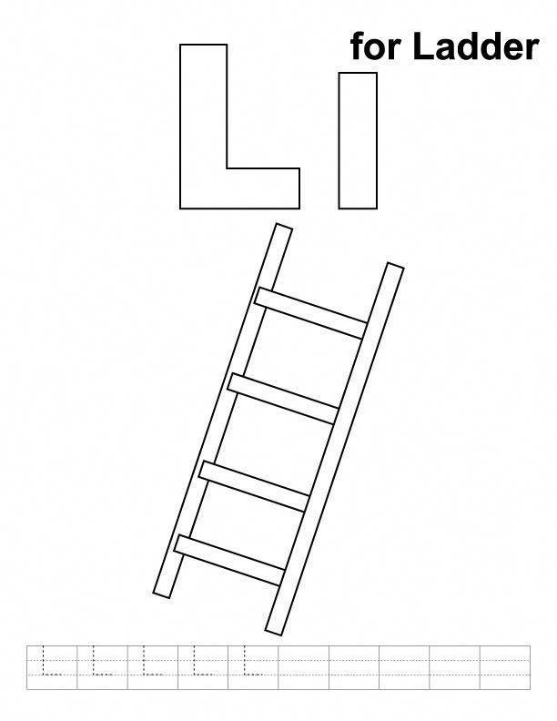 L for ladder coloring page with handwriting practice #