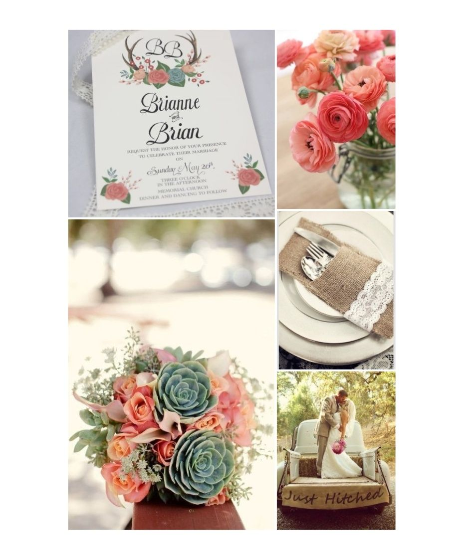 A fantastic peach and mint rustic themed wedding! Thank you Real ...