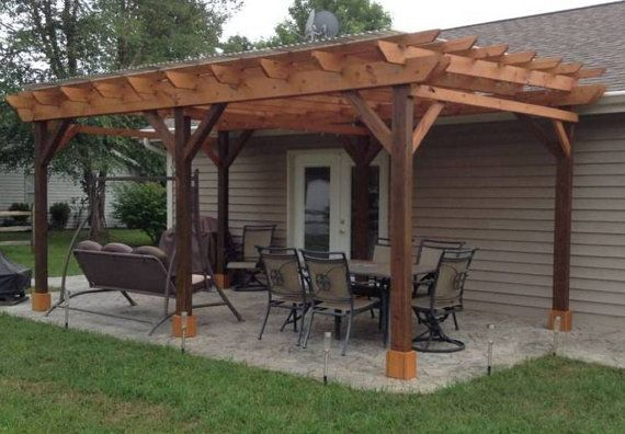 Covered Pergola Plans 12x24' by CinciPro on Etsy - Covered Pergola Plans 12x24' Outside Patio Wood Design Covered Deck