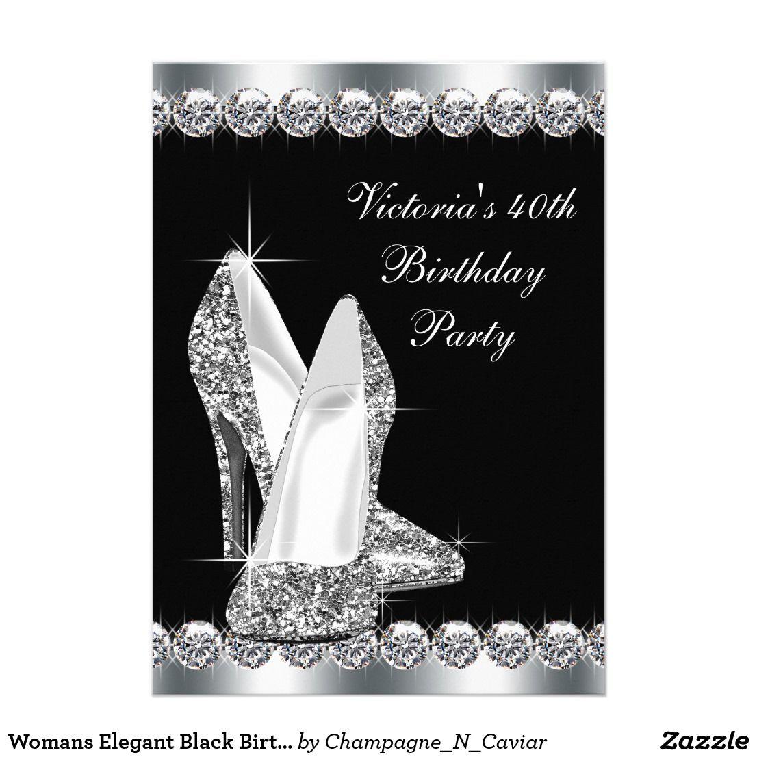 Womans Elegant Black Birthday Party Card | Invitation cards ...