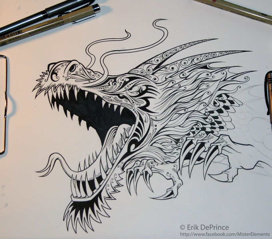Tattoo dragon in progress. by ErikDePrince on DeviantArt