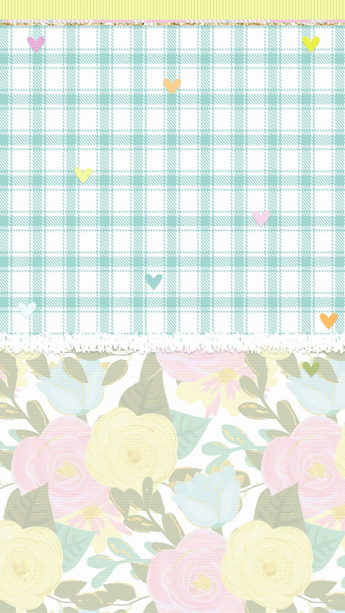 Pretty Pastel Flowers Plaid Wallpaper Pretty Wallpapers