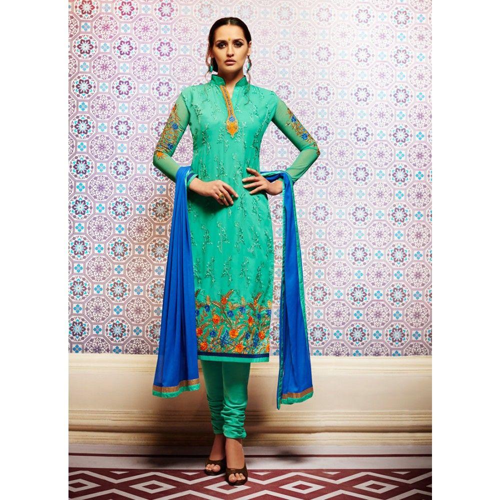 Green Georgette Indian #Churidar Kameez With Dupatta- $45.72