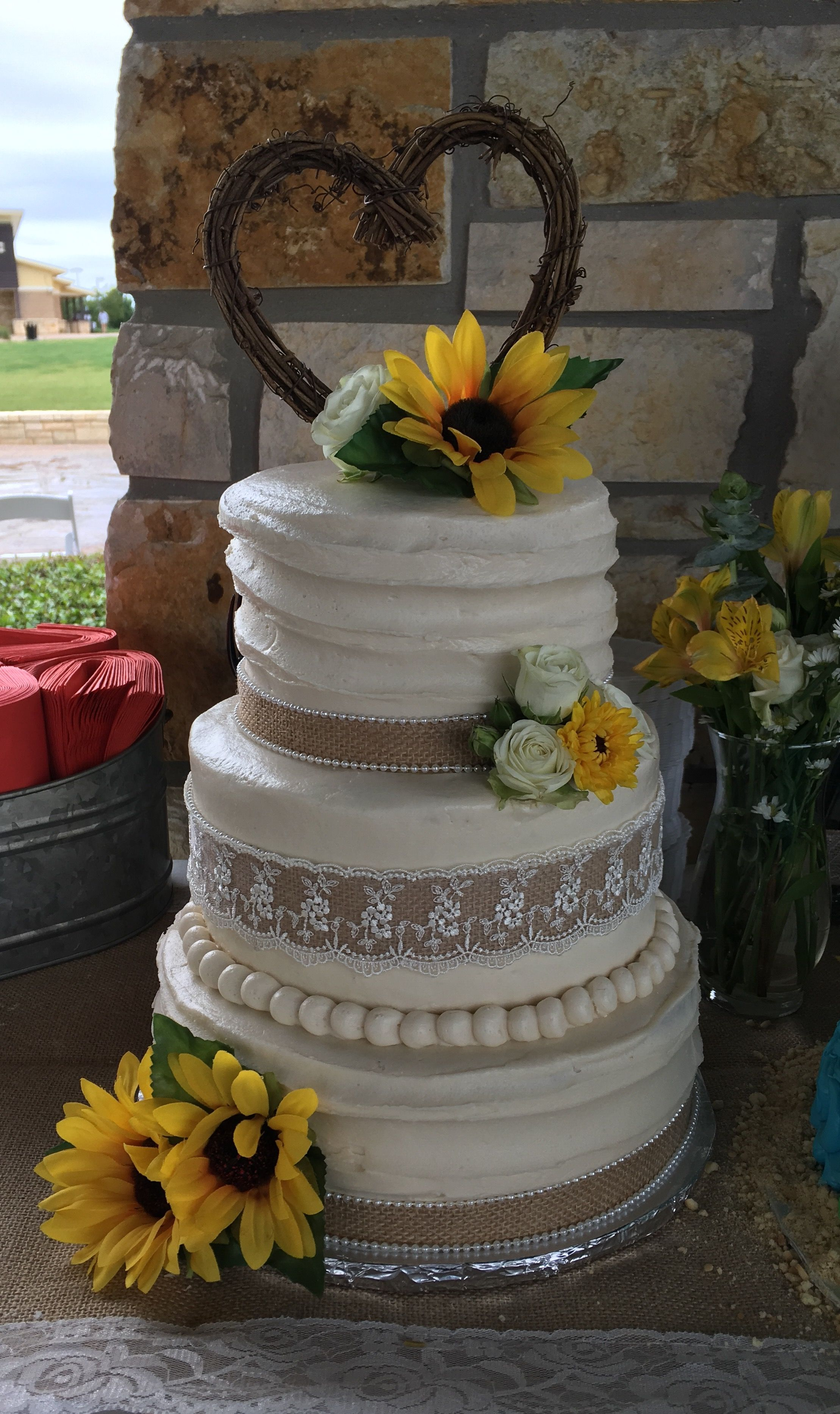 Burlap Lace Sunflower Rustic Wedding Cake Burlap wedding