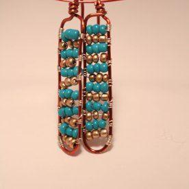 handmade blue and bronze beaded earrings