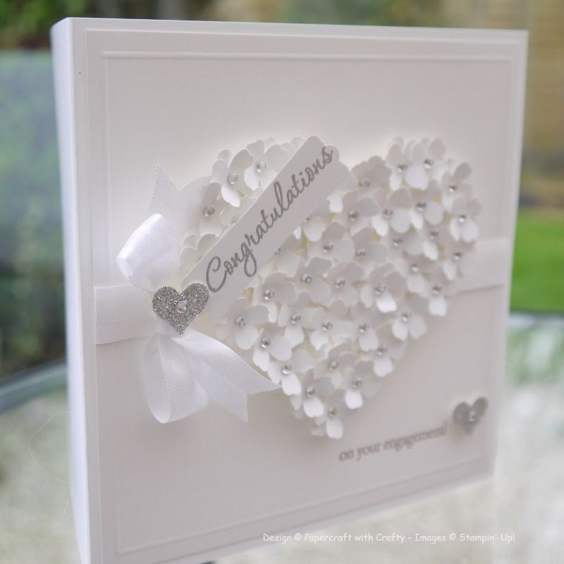 engagement card itty bitty flower and heart punches word. Black Bedroom Furniture Sets. Home Design Ideas