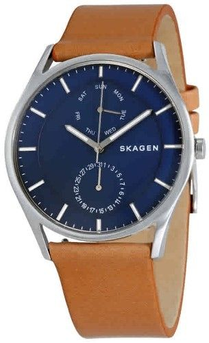 6679132d3b003 Skagen Holst Blue Dial Men s Multifunction Leather Watch SKW6369 ...