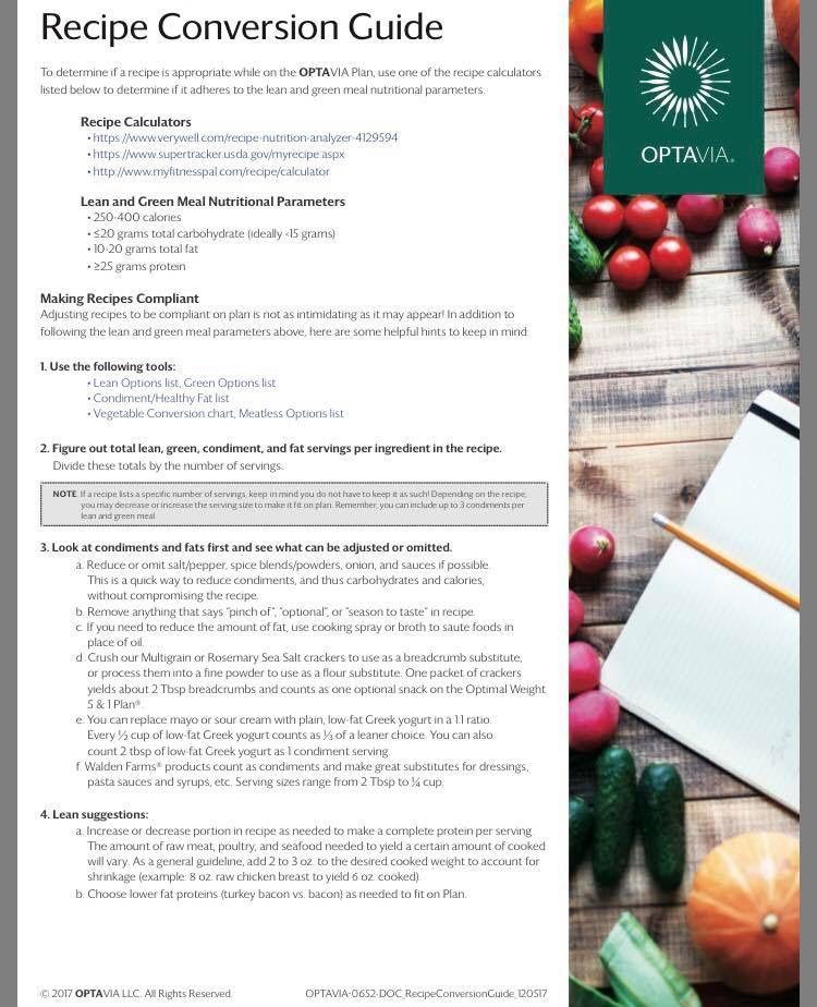 optavia diet food list