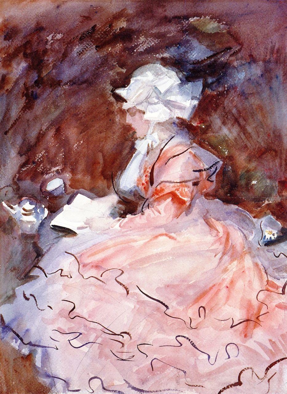 Girl in a Pink Dress John Singer Sargent  Les femmes qui lisent