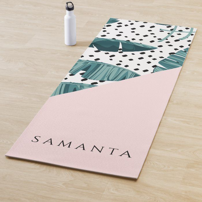 Abstract Pattern With Green Leaf & Pastel Pink Yoga Mat | Zazzle.com
