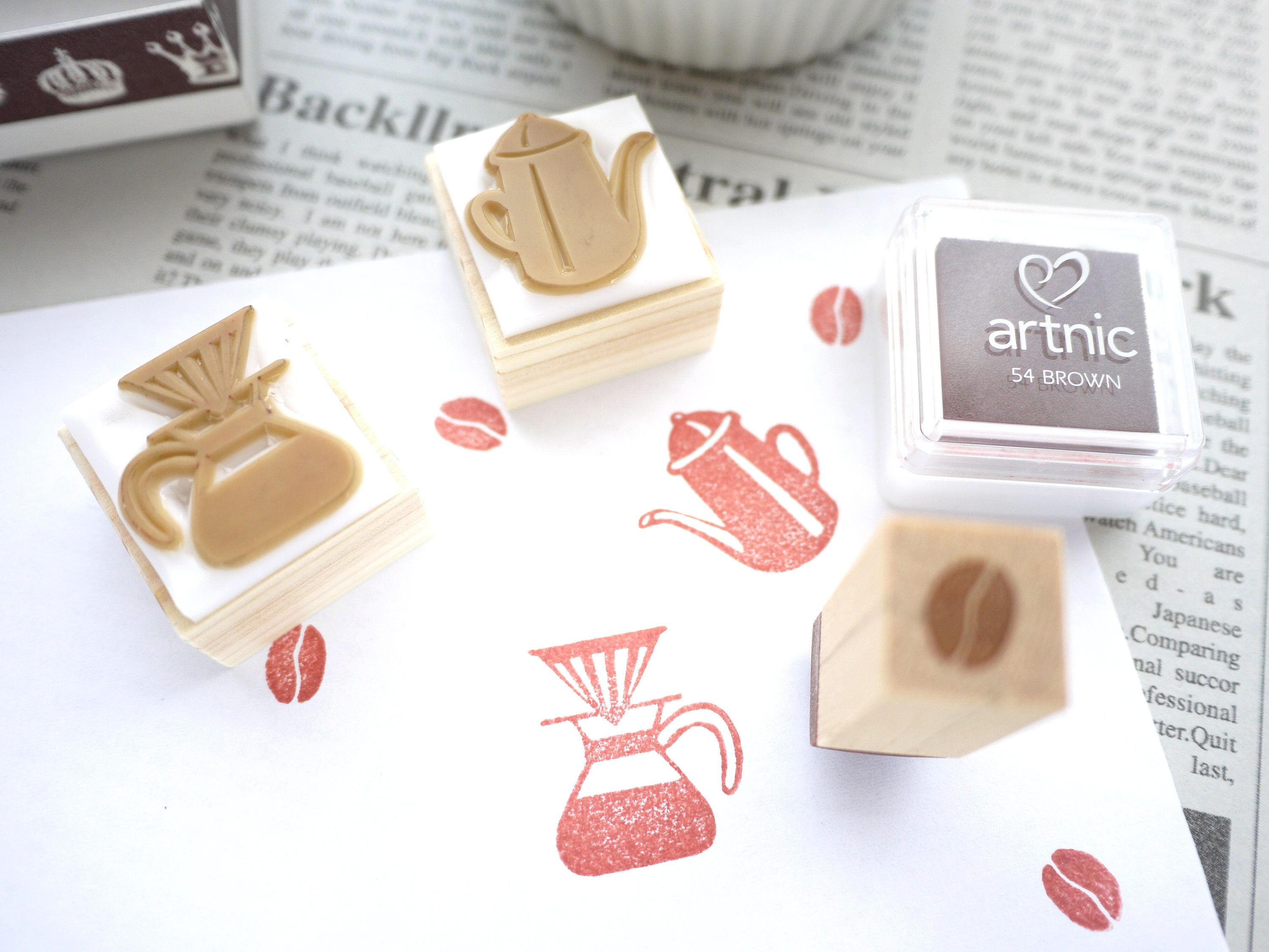 Coffee rubber stamp, Rubber stamp set, Cafe gift idea, Japanese ...