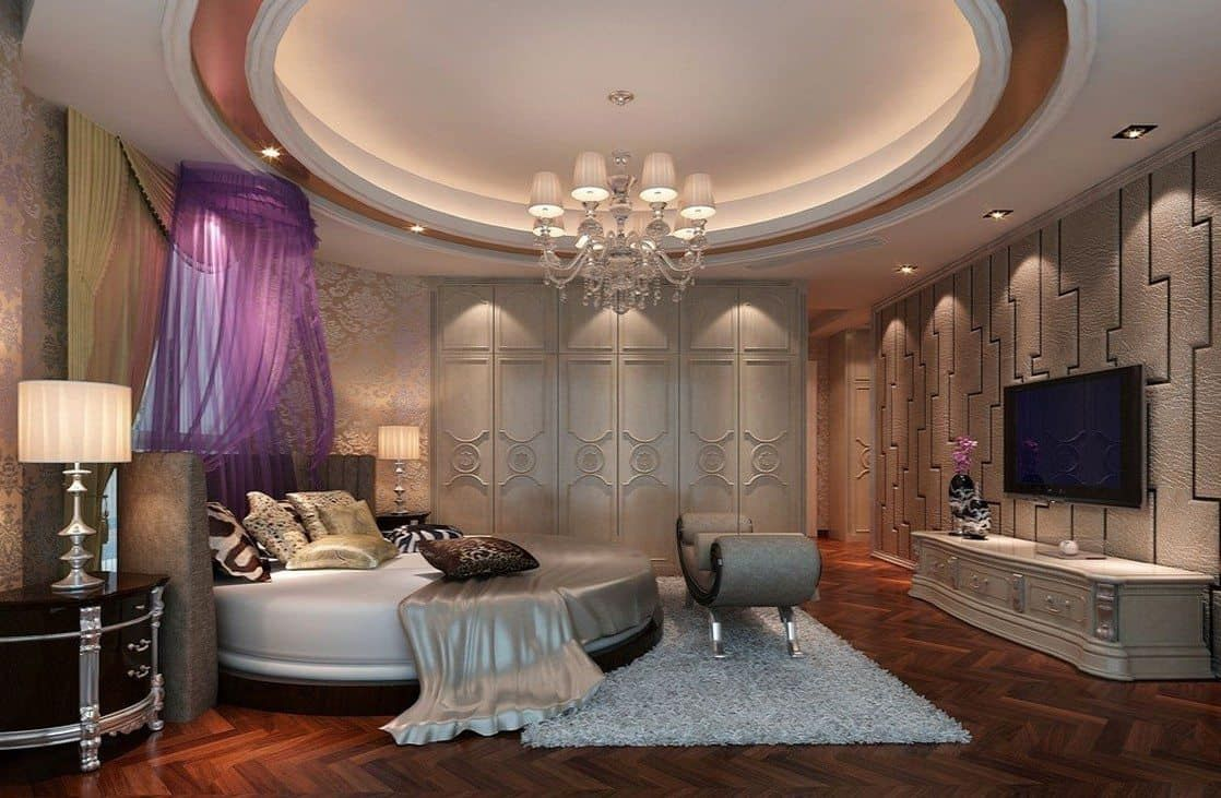 Ultra Luxurious Master Bedroom With Round Ceiling Design ...