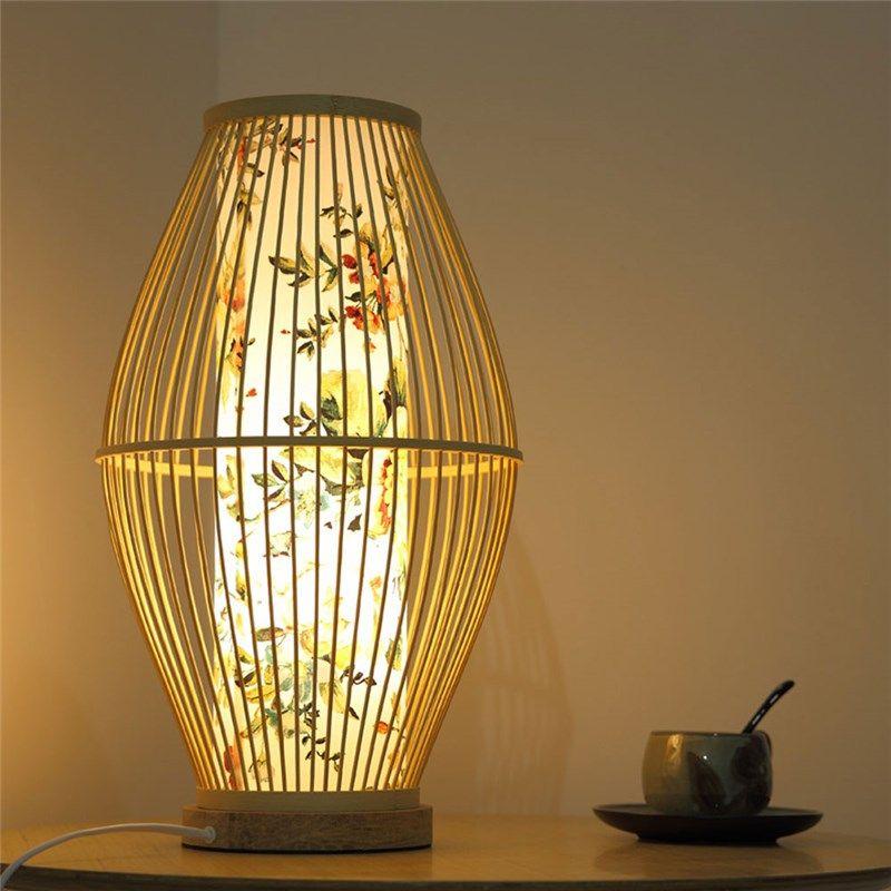 Japanese Creative Table Lamp Waist Drum Shape Bamboo Desk Lamp