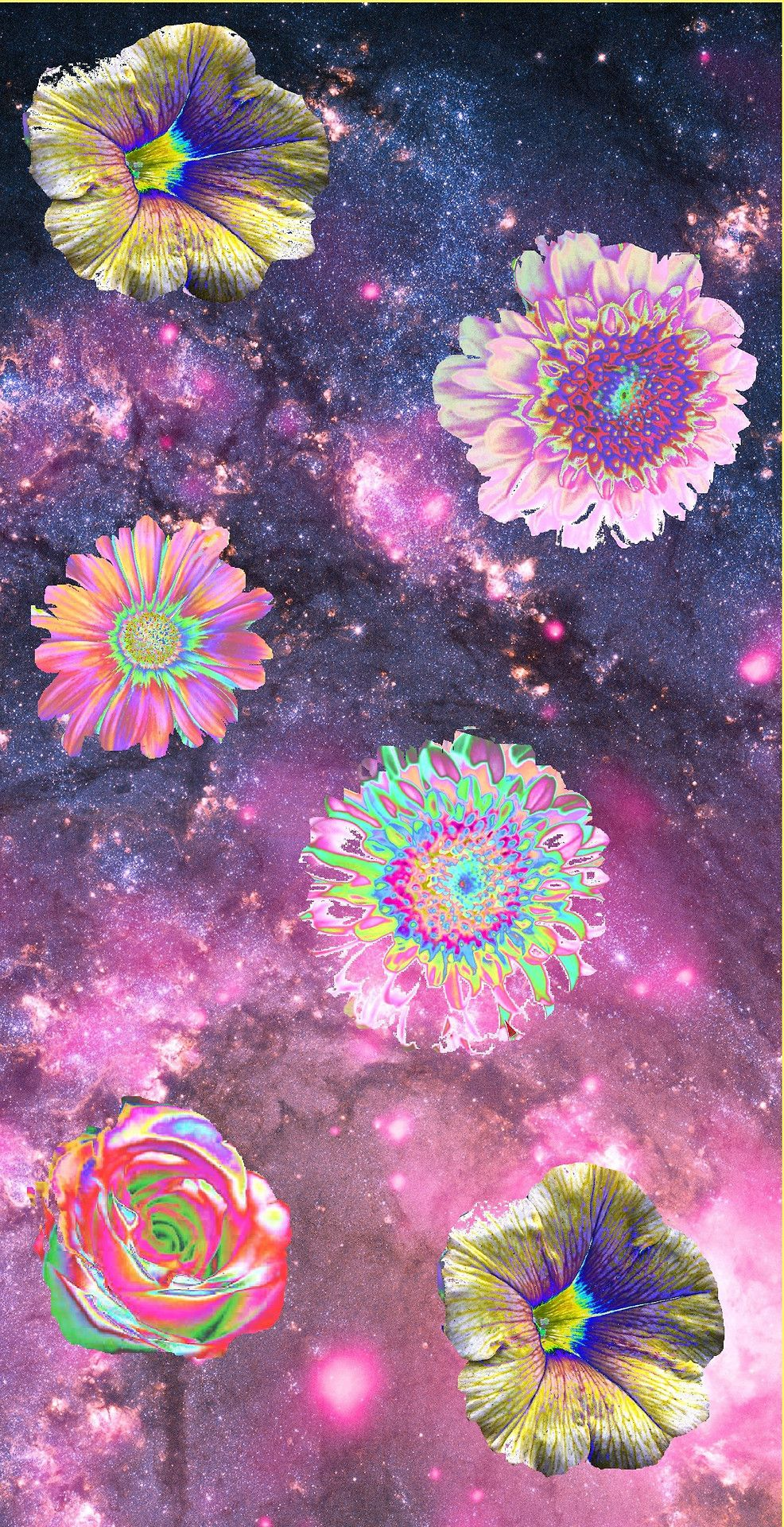art trippy rainbow psychedelic space galaxy trip flower