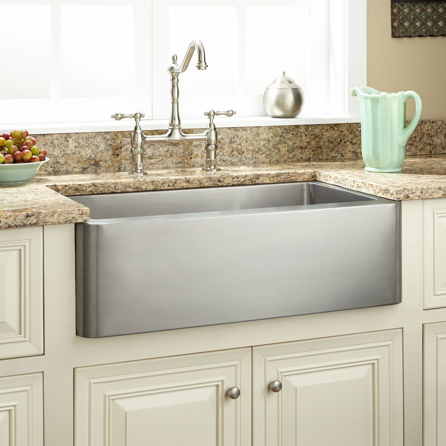 24 Fournier Stainless Steel Farmhouse Sink Curved Apron