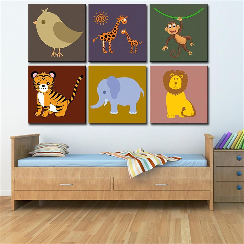 Wall Art Canvas Painting Oil 6 Pieces Set Modern Cartoon Animals Pictures Kids