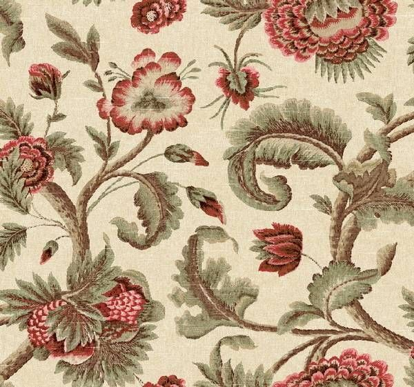 Wallpaper Designer Traditional Jacobean Floral Tapestry Reds Green