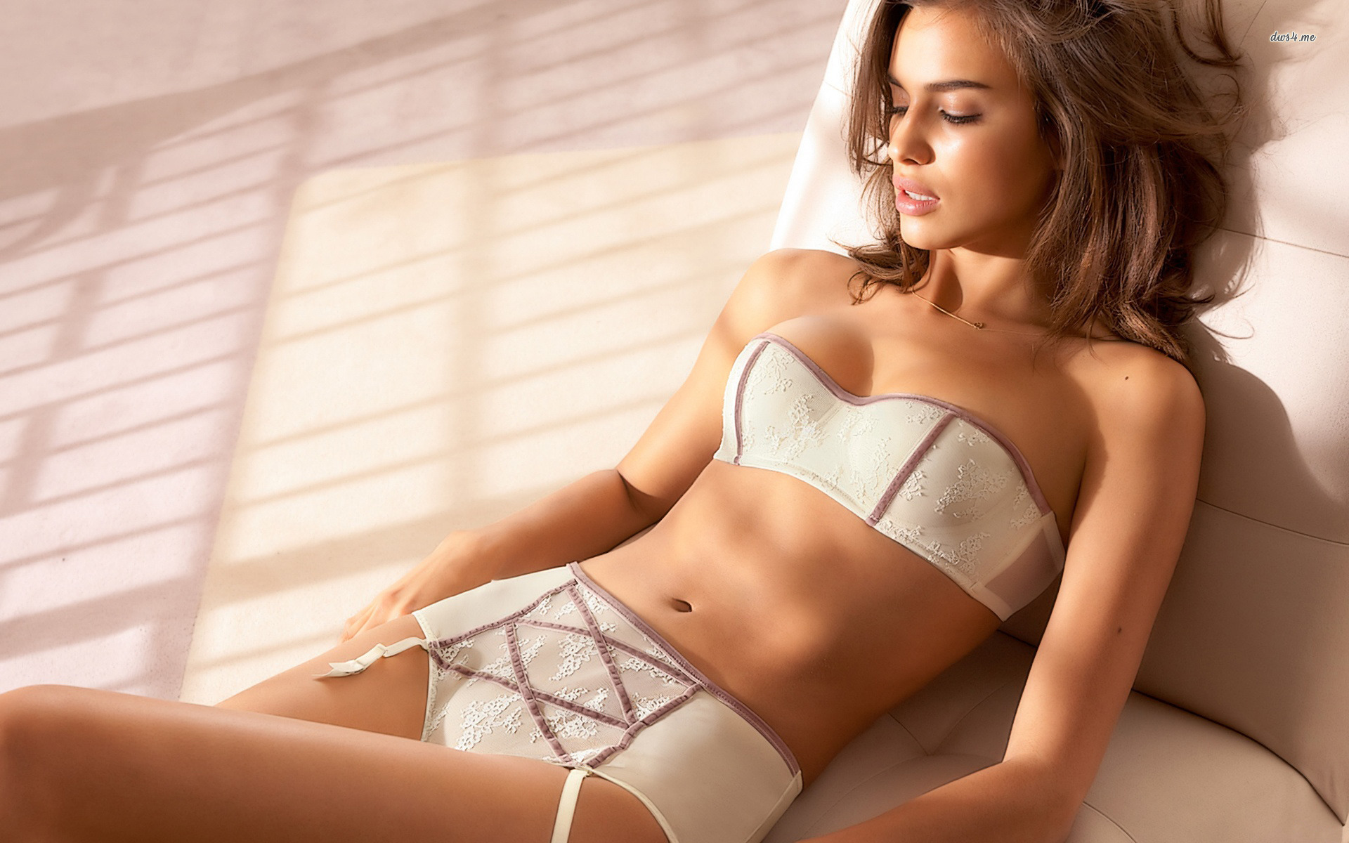 Irina Shayk lingerie lying down smooth skin