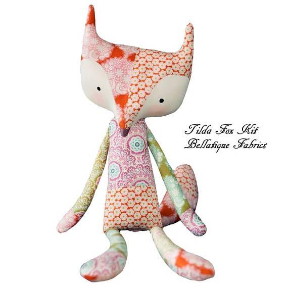 Tilda USA COLORFUL FOX Kit Plush Stuffed Animal Designer Tone ...