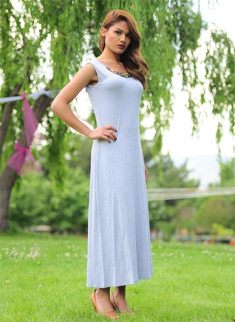 11602f249cb80 Bayan Elbise Uzun Gri Md | Kadın Giyim | Modabenle | Bayan Giyim ...
