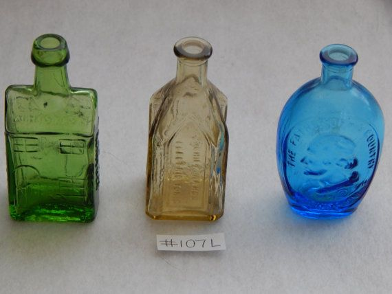 Glass Decorative Bottles 3  Miniature Glass Decorative Bottles Wheaton Repro Made In