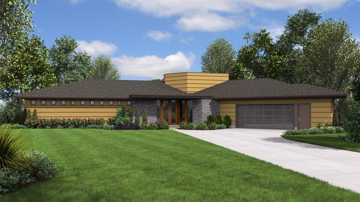 Geometrical modern ranch house plan plan 1252 the cheatham is a 2122 sqft contemporary ranch style home plan featuring covered patio