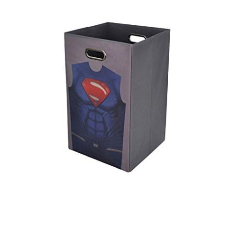Details About Superman Gray Folding Laundry Basket Bin