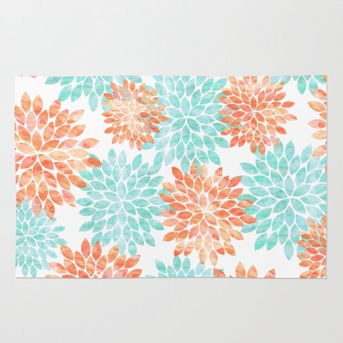 Aqua And Coral Flowers Area & Throw Rug