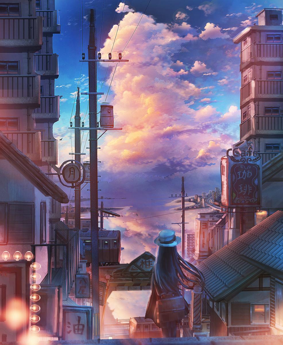 Original Background Scenery 懐かしい街 Pixiv 風景の壁紙 入道雲 美しい風景
