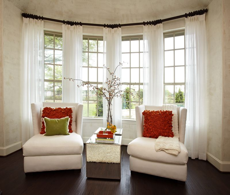 Portfolio fabulous home accents bay window curtains - Living room with bay window ...