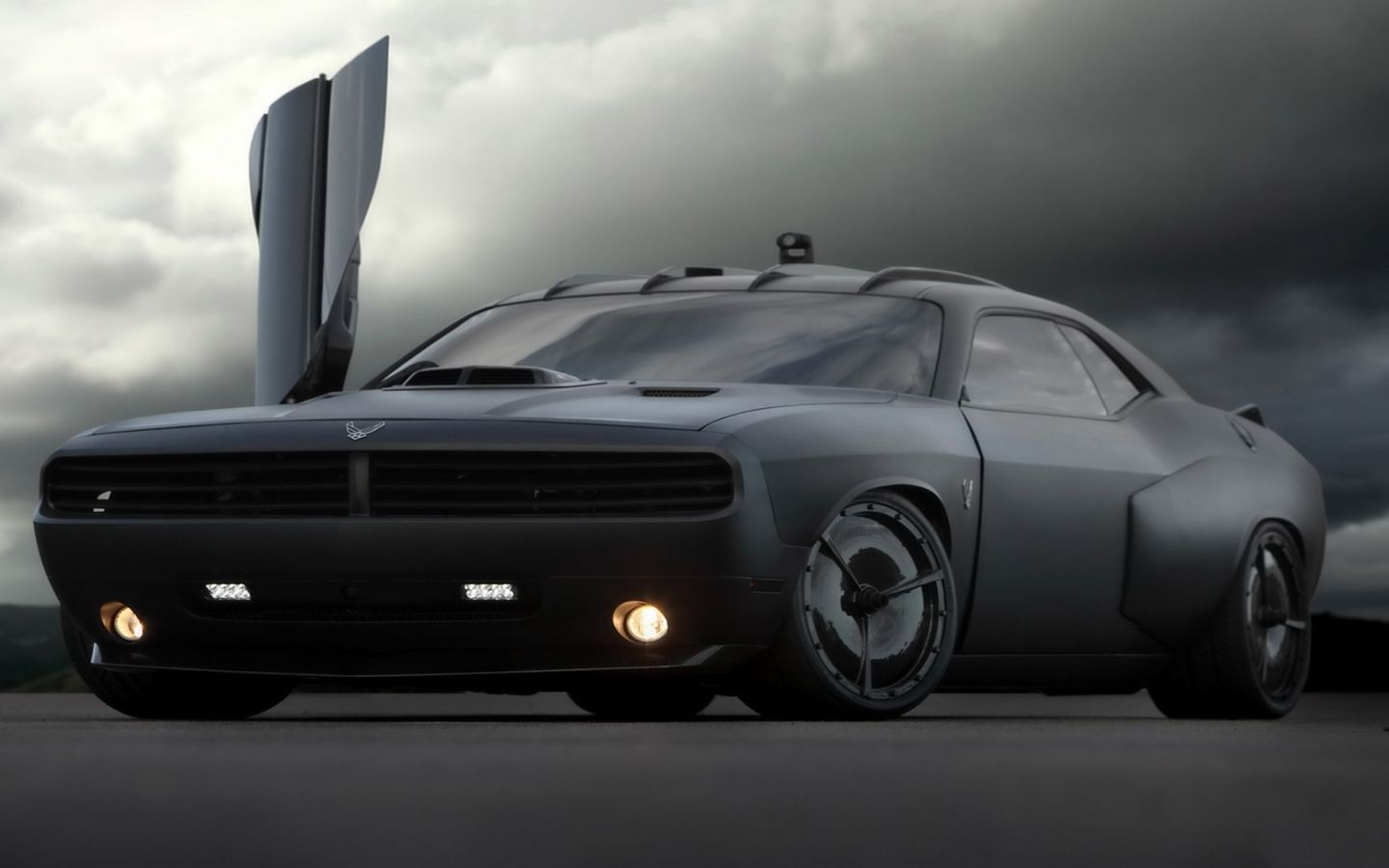 The us air force has teamed up with galpin auto sports and built the stealth looking dodge challenger vapor part muscle car part fighter jet