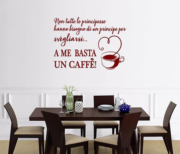 ADESIVI MURALI FRASE caffè CUCINA ARREDO WS1380