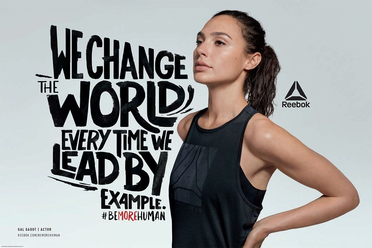 1358719f733 Gal Gadot Reebok be more human We change the wrold ever time we lead by  example  bemorehuman